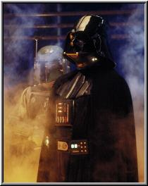 Darth Vader en cloud city, donde los gases resaltan su malefica apariencia